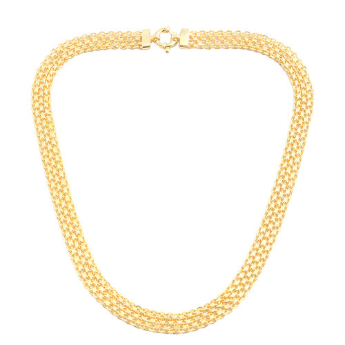 Italian Made - 14K Gold Overlay Sterling Silver Bismark Necklace (Size 20), Silver 21.46 Gms.