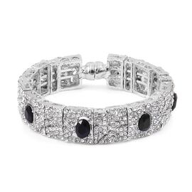 White Austrian Crystal and Simulated Black Spinel Bangle (Size 7) in Silver Tone