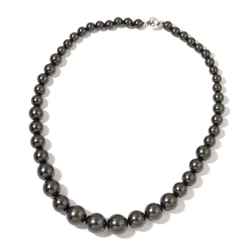 Graduated Tahitian Colour Shell Pearl Necklace (Size 20) with Rhodium Plated Sterling Silver Magnetic Lock and Stretchable Bracelet (Size 7.5)
