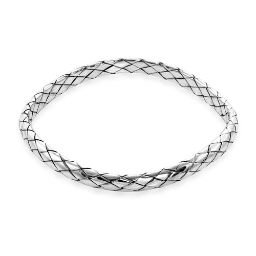 Royal Bali Collection Weave Design Bangle in Sterling Silver 20 Grams 8 Inch