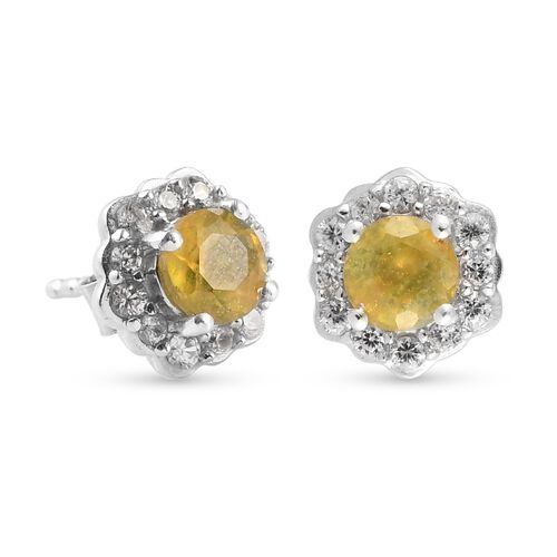 Yellow Sapphire and Natural Cambodian Zircon Floral Stud Earring (with Push Back) in Platinum Overlay Sterling Silver 2.00 Ct.