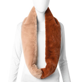 Brown and Khaki Faux Fur Infinity Scarf (Size 70x15cm)