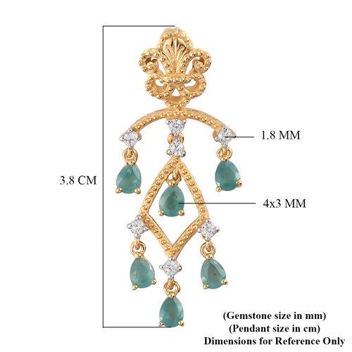 Grandidierite and Natural Cambdoian Zircon Pendant in 14K Gold Overlay Sterling Silver