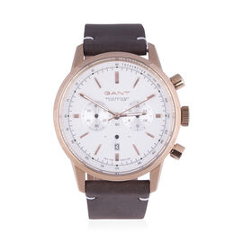 GANT Bradford Multi-function Mens White Dial Watch with Brown Leather Strap