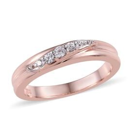 Natural Cambodian Zircon (Rnd) Band Ring in Rose Gold Overlay Sterling Silver 0.20 Ct.
