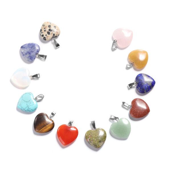 Set of 12 - Multi Gemstone Heart Pendants in Silver Tone