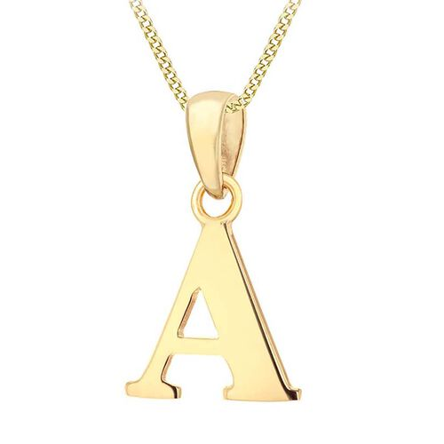 9K Yellow Gold Initial A Pendant