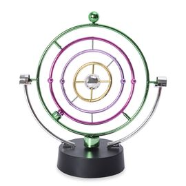 Electronic Perpetual Motion Desk Toy (Size 24.5x23 Cm) - Black, Silver, Purple and Green (4xAA Batte