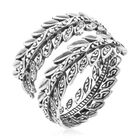 Sterling Silver Adjustable Leafy Spiral Ring (Size P), Silver wt 5.50 Gms