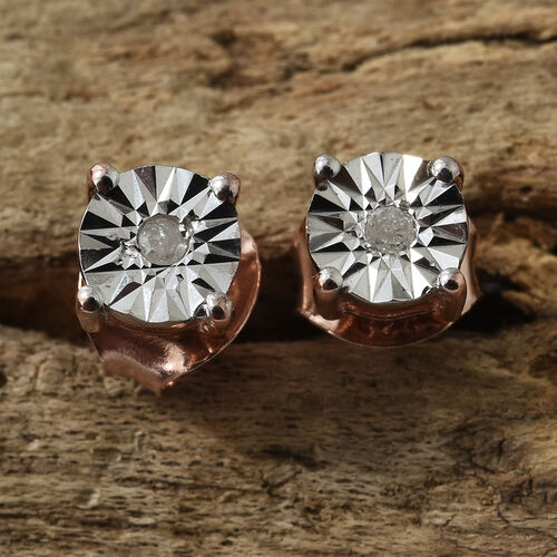 Diamond (Rnd) Stud Earrings (with Push Back) in Rose Gold Overlay Sterling Silver