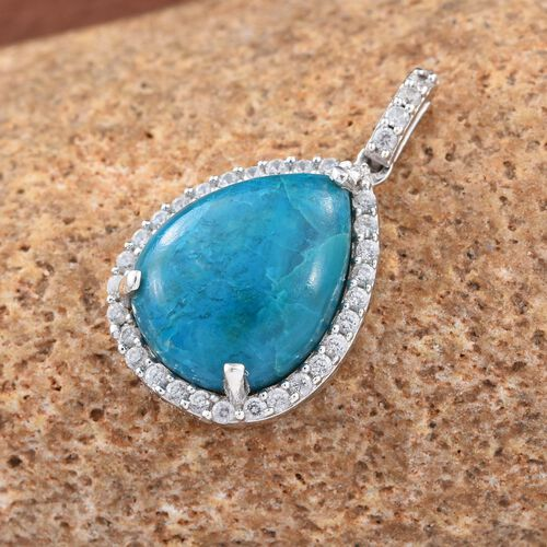 Natural Rare Opalina (Pear 6.50 Ct), Natural Cambodian Zircon Pendant in Platinum Overlay Sterling Silver 7.160 Ct.