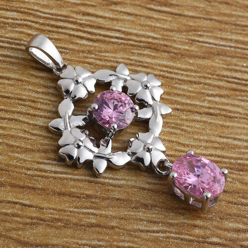 J Francis Platinum Overlay Sterling Silver Pendant Made with PINK SWAROVSKI ZIRCONIA 3.00 Ct.