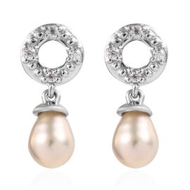 Freshwater Pearl and Natural Cambodian Zircon Earrings (with Push Back) in Platinum Overlay Sterling