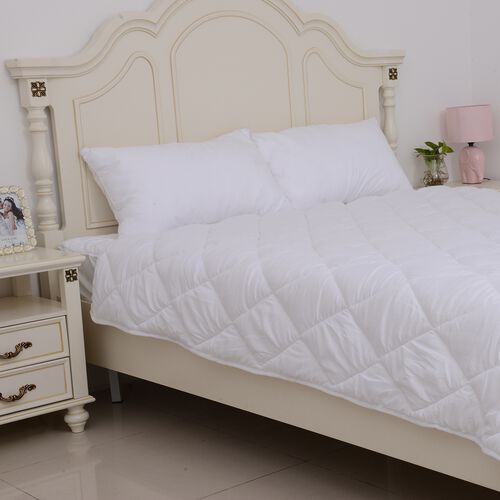 Luxury Edition - 4 Season Luxury Anti Bacterial Quilted Duvet with Faux Down Hollowfibre Filling in Single Size (135x200 cm)