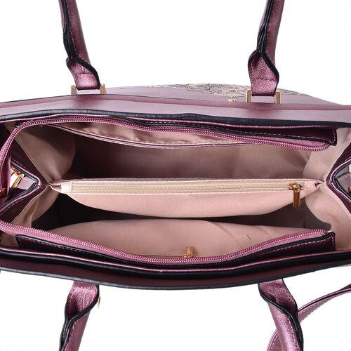 Metallic Purple Colour Golden Sequin Art Embellished Tote Bag with External Zipper Pocket and Removable Shoulder Strap (Size 32.5X29X13 Cm)