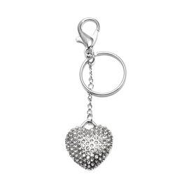 White Crystal Heart Keychain in Stainless Steel