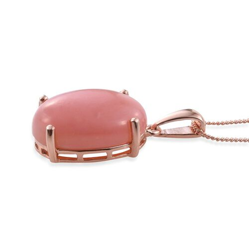 Natural Peruvian Pink Opal (Ovl) Solitaire Pendant With Chain in Rose Gold Overlay Sterling Silver 9.000 Ct.