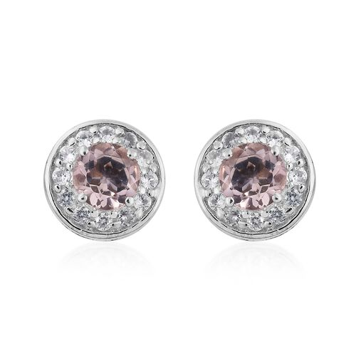 9K White Gold 1 Carat AA Moroppino Morganite Halo Stud Earrings (with Push Back) with Natural Cambodian Zircon