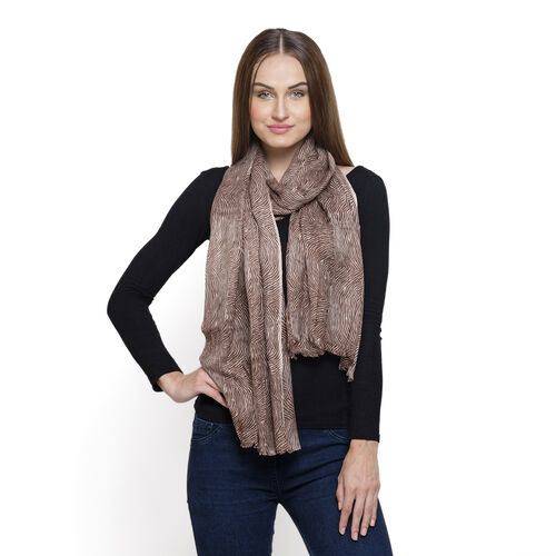Chocolate and White Colour Printed Scarf (Size 180x55 Cm)