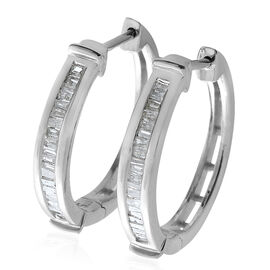 Diamond (Bgt) Hoop Earrings (with Clasp Lock) in Platinum Overlay Sterling Silver 0.330 Ct.