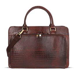 100% Genuine Leather Laptop Bag with Detachable Shoulder Strap (Size 38.5x10x27.5 Cm) - Chocolate Br