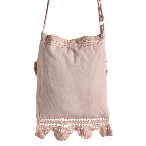 New For Season - 100% Cotton Multi Colour Floral and Leaves Printed Square Shape Pink Colour Shoulder Bag (Size 30x25 Cm)