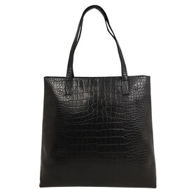 Assots London FREYA Black Semi Structured Unlined Croc Leather Tote Bag