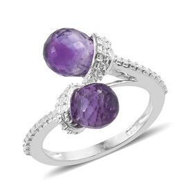 Checkerboard Cut Amethyst (Drop 8x6 mm) Ring (Size P) in Sterling Silver  3.500 Ct.
