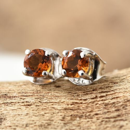 Madeira Citrine (Rnd) Stud Earrings (with Push Back) in Platinum Overlay Sterling Silver 0.500 Ct.