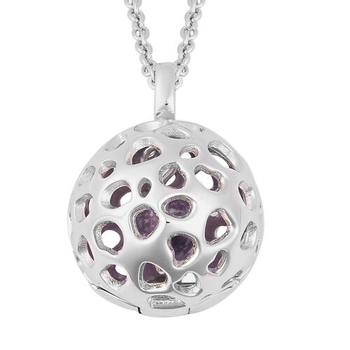 Rachel Galley 3.2 Ct Globe Pendant with Chain in Rhodium Plated Sterling Silver 20 Inch