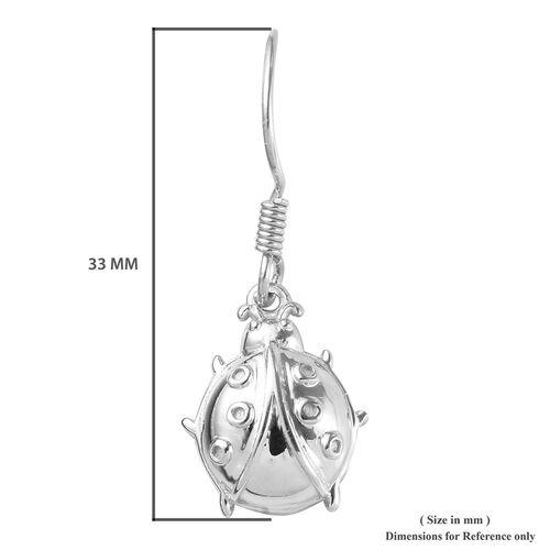 Platinum Overlay Sterling Silver Ladybug Hook Earrings