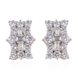 ILIANA 18K Yellow Gold IGI Certified (SI/G-H) Diamond (Bgt and Rnd) Earrings (with Screw Back) 1.000