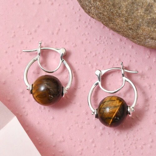 Tigers Eye Hoop Earrings (with Clasp) in Sterling Silver 2.00 Ct, Silver wt 4.55 Gms