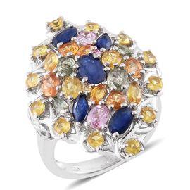 Kanchanaburi Blue Sapphire (Ovl), Orange Sapphire, Yellow Sapphire, Pink Sapphire, Green Sapphire Ring in Platinum Overlay Sterling Silver 5.160 Ct.