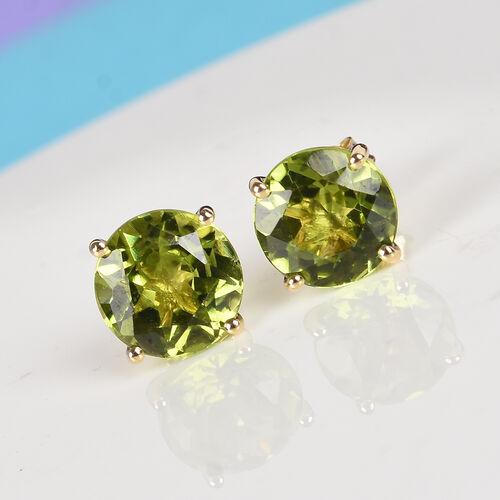 9K Yellow Gold AA Hebei Peridot Stud Earrings (with Push Back) 2.75 Ct.