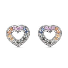 Rainbow Sapphire Heart Stud Earrings (with Push Back) in Platinum Overlay Sterling Silver 0.95 Ct.
