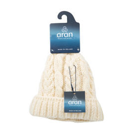 Aran 100% Pure Woollen Mills Cable Irish Hat in Cream Colour (One Size)