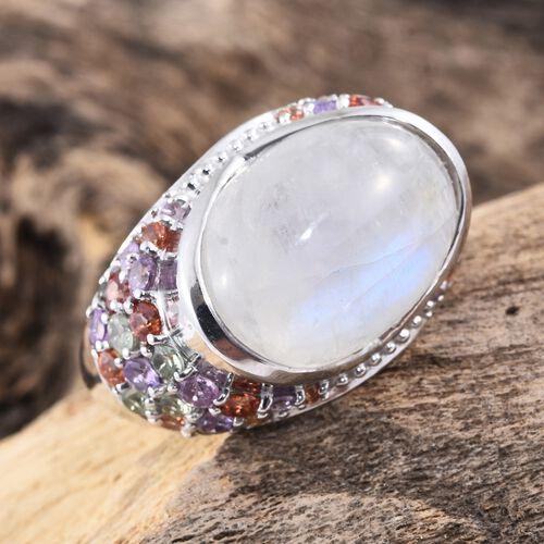Sri Lankan Rainbow Moonstone (Ovl 13.70 Ct), Multi Sapphire Ring in Platinum Overlay Sterling Silver 16.500 Ct. Silver wt 7.32 Gms.