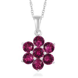 J Francis - Crystal from Swarovski Fuchsia Crystal (Rnd) Floral Pendant with Chain (Size 18) in Ster