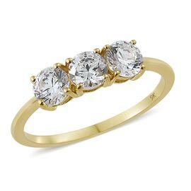 J Francis - 9K Yellow Gold (Rnd) Trilogy Ring (Size T) Made with SWAROVSKI ZIRCONIA
