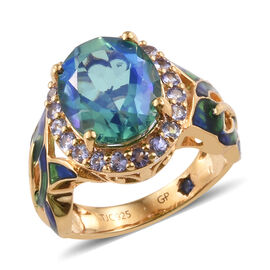GP 6.01 Ct Peacock Triplet Quartz and Multi Gemstones Ring in Gold Plated Sterling Silver Halo 4.68