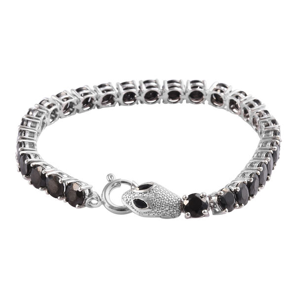 13 Carat Diamond and Multi Gemstone Snake Tennis Bracelet in Platinum Plated Sterling Silver 8 Inch