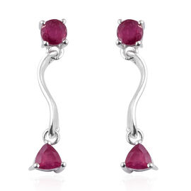African Ruby (Rnd) Twirl Earrings (with Push Back) in Sterling Silver 1.250 Ct.