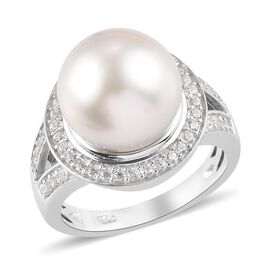 Royal Bali Collection - White South Sea Pearl and Natural Cambodian Zircon Ring in Platinum Overlay