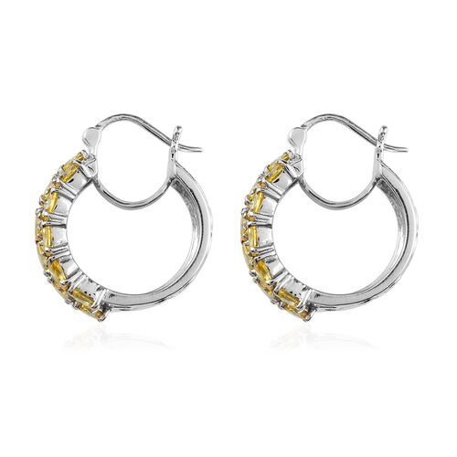 Simulated Canary Diamond Hoop Earrings (with Clasp) in Stainless Steel
