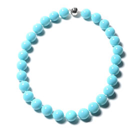 Sleeping Beauty Colour Shell Pearl Beaded Necklace in Rhodium Plated  Silver 20 Inch