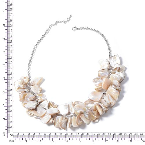 Designer Inspired-Natural Colour Shell Necklace (Size 20) in Silver Plated.