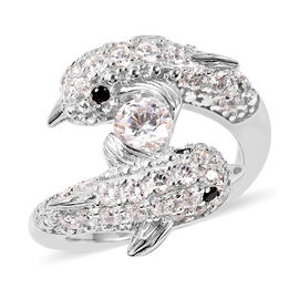 J Francis - Boi Ploi Black Spinel Rhodium Overlay Sterling Silver Dolphin Ring made with SWAROVSKI Z