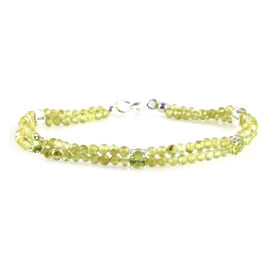 One Time Deal-Hebei Peridot Beads Bracelet (Size - 7.5) in Sterling Silver 27.68 Ct.