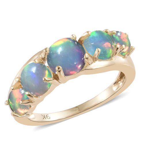 9K Yellow Gold AA Ethiopian Welo Opal (Rnd) Ring 1.500 Ct.